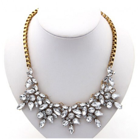 Statement Choker Necklace with Crystals and Antique Gold Color Metal