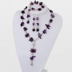 Amethyst Jewelry Set ( Necklace, Earrings and Bracelet)