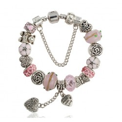 """Murano Glass Beads Bracelet with Heart Charm """"MADE WITH LOVE"""""""