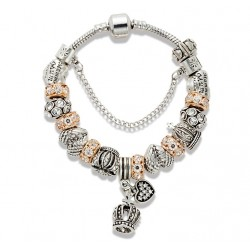 """Gold and Crystal Beads Crown and """"MUM"""" Charms Bracelet"""