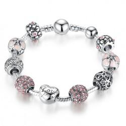 """Pulsera con charms con cristales rosas y corazón """"Amour-Love-Amor"""""""