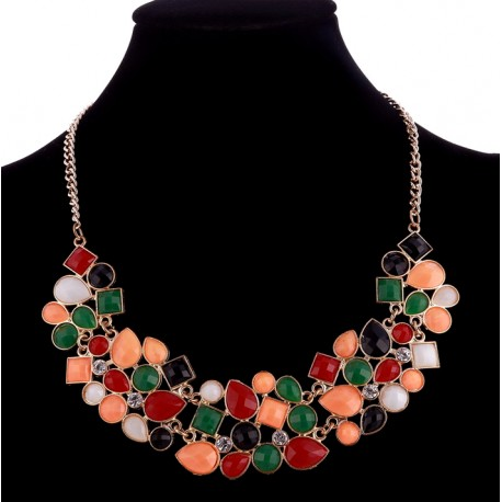 Colourful Chocker Necklace with Multicolor Acrilic Stone Beads