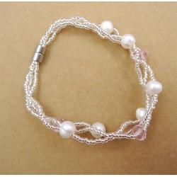 Pulsera trenzada con perla naural y cristales acrilicos