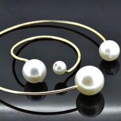 Conjunto collar y pulsera con dos perlas