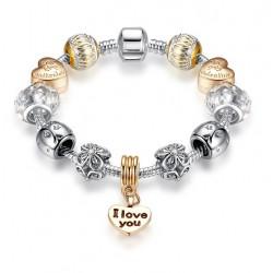 Pulsera con charms dorados I Love You y corazones Valentine