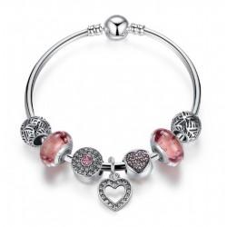 Pulsera rígida con cristal rosa Murano y colgante Corazón