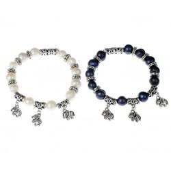 Pulsera de Perlas negras o blancas de Agua Dulce con Elephantes