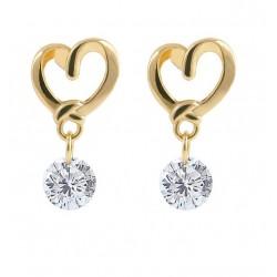 Pendientes Corazón dorado y Cristal en diamante
