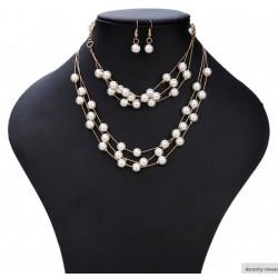 Conjunto de Perlas sintéticas Collar, Pulsera y Pendientes