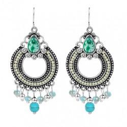 Pendientes estilo Indio con Cristales y Piedras Azules