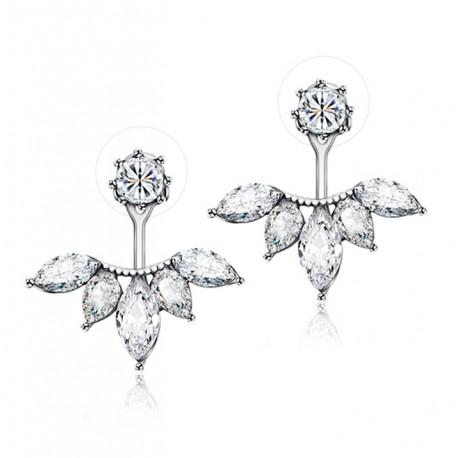 Silver Plated Leave Crystal Stud Earrings