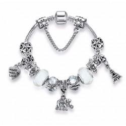 Eiffel Tower, Animal Owl, Elephant, Heart Charm Pendant Beads Bracelet