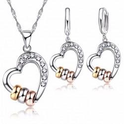 Conjunto Collar y pendientes Corazón con tres anillos