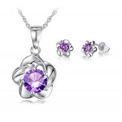 Conjunto collar y pendientes con Flor de Zirconita Violeta