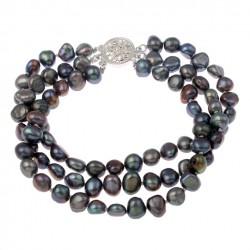 Black Freshwater Cultured Pearl Bracelet Three Strand