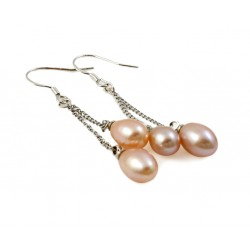 Freshwater Pearl Earrings with Three Pearls Champagne Rosé