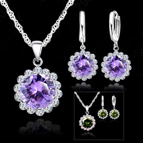 3cb1d43bb1f6 Conjunto Collar y pendientes con Zirconita Violeta o Verde
