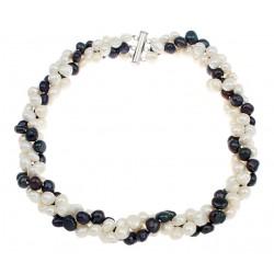 Collar tres capas de perlas naturales blancas y negras