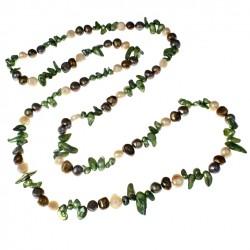 Collar largo de Perlas de Agua dulce en tres tonos
