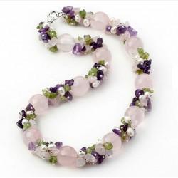 Natural Pink Quartz, Amethyst, Olivine, Quartz and Pearls Necklace
