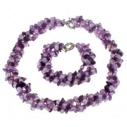 Conjunto con Amatista natural y Perlas de Agua dulce violetas