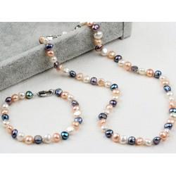 Conjunto collar y pulsera de perlas naturales tres colores