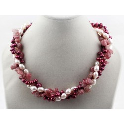 Multi Strands White And Purple Red Freshwater Pearl And Strawberry Quartz Twisted Necklace