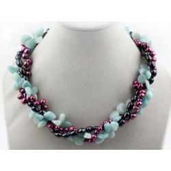 Collar de Amazonita y Perlas naturales