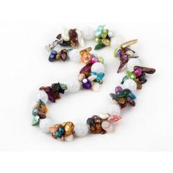 Collar con Perlas multicolor y esferas de cristal tallado