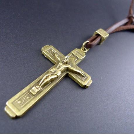 Collar de cuero auténtico de Cruz Católica en bronce conmemoración  de Fátima