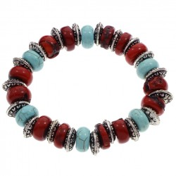 Pulsera de coral rojo, turquesa y plata tibetana