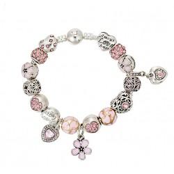 Pulsera de cuentas europea con detalles de flores y corazones rosas y cristales austriacos