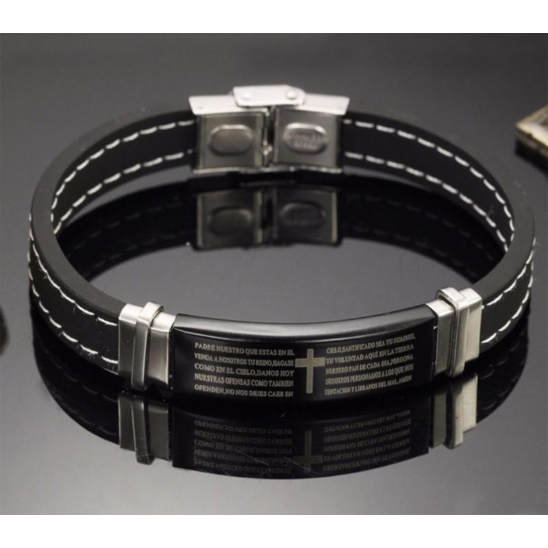 7219a1696f1e Pulsera negra de silicona detalles en acero inoxidable y Padre Nuestro  grabado