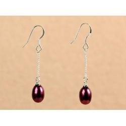 Pendientes con perla color bordeaux