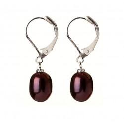 Pendientes con Perlas naturales color bordeaux