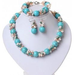 Conjunto Collar, Pulsera y Pendientes con turquesa y perlas