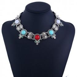 Collar estilo Étnico Retro con Turquesas de colores
