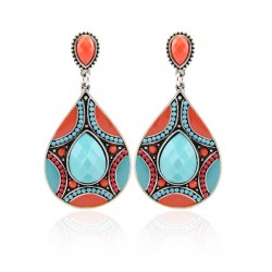 Colorful Ethnic Resin Beads Drop Earrings