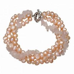 Pulsera elaborada con perla natural color champagne y cuarzo rosa