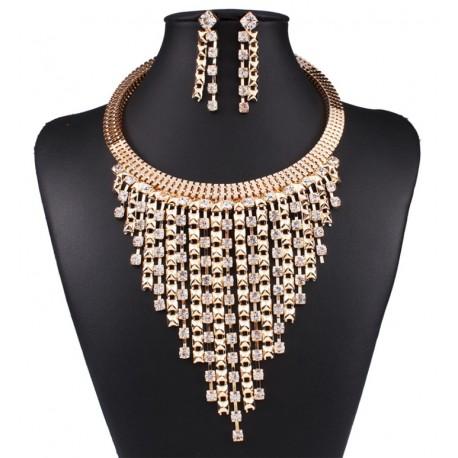 Conjunto dorado de collar y pendientes Bermudas