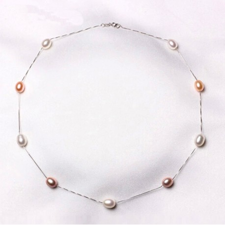 925 Sterling Silver and Natural Freshwater Pearl Necklace