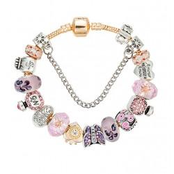 Pulsera de cuentas dorada charms de corazones en cristal Murano rosa y cristales