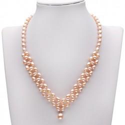 Collar con perlas color rosa con colgante perla