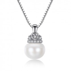Collar de plata 925 con colgante Perla y Corazón
