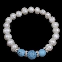 Pulsera elástica de perlas naturales y Turquesa