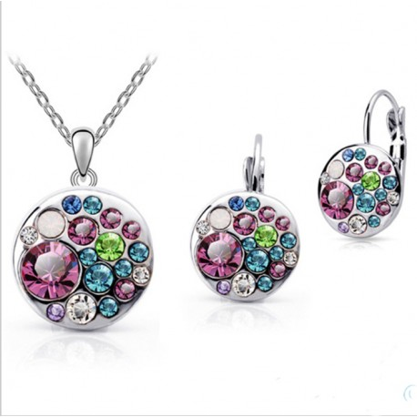 Silver Metal Jewelry Set with Crystals Multicolor