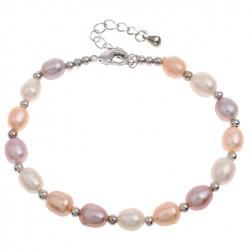 Pulsera de cuentas con perlas tricolores de agua dulce y detalles de esferas plateadas