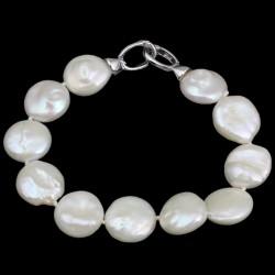 Pulsera de cuentas con perla natural de agua dulce en forma de moneda