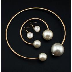 Conjunto collar, pulsera y pendientes con 2 maxi perlas