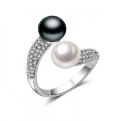 Anillo de Plata 925 con Perlas blanco y negro